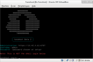 Yunohost Interface post-installation