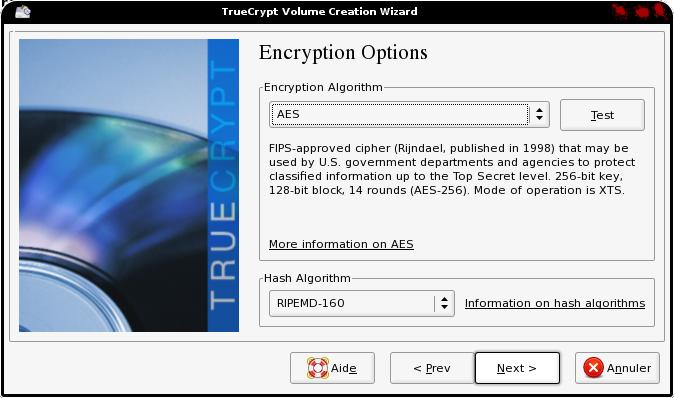 Type encodage truecrypt debian